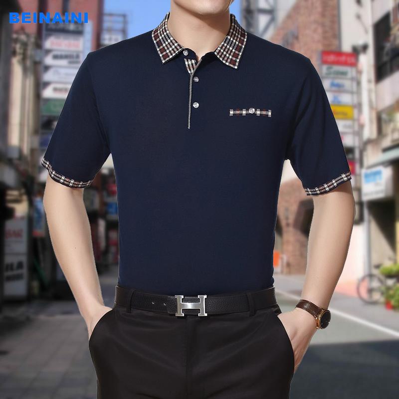 16新款中青年男士翻领免烫短袖T恤上衣大码休闲针织体恤衫男装