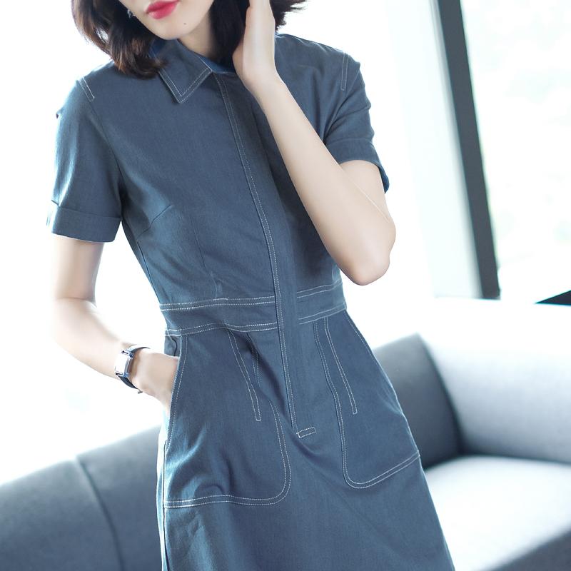 妃之影2017夏季新款气质短袖衬衫a字裙收腰中长款显瘦牛仔连衣裙
