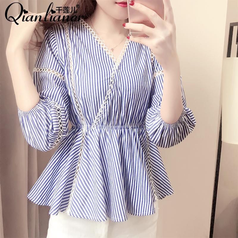 时尚宽松雪纺衫夏装衬衫上衣气质女韩版条纹
