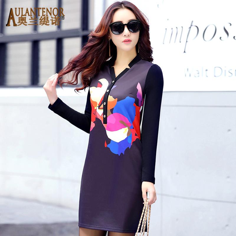 2016女装新款韩版秋冬季长袖连衣裙时尚修身显瘦印花V领打底裙子