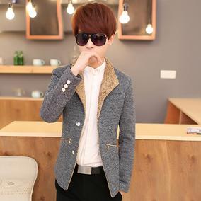 青少年秋冬季加绒休闲西服男韩版修身小西装男士时尚呢子潮流外套