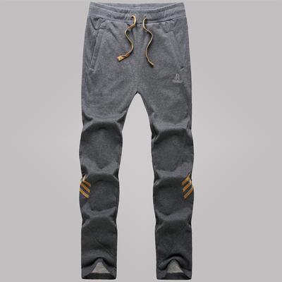 男士裤子直筒小脚运动裤冬季修身针织休闲裤男生卫裤加绒男式长裤