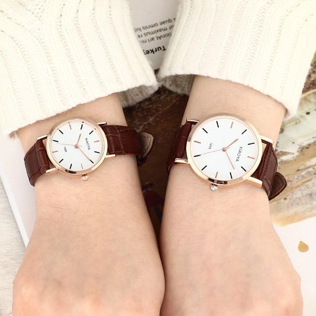 簡約時尚休閑潮流手表一對皮帶表情夜光女學生