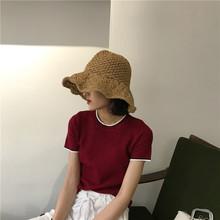 夏季韩版基础款简约显瘦中袖宽松针织衫女学生上衣套头短袖打底衫