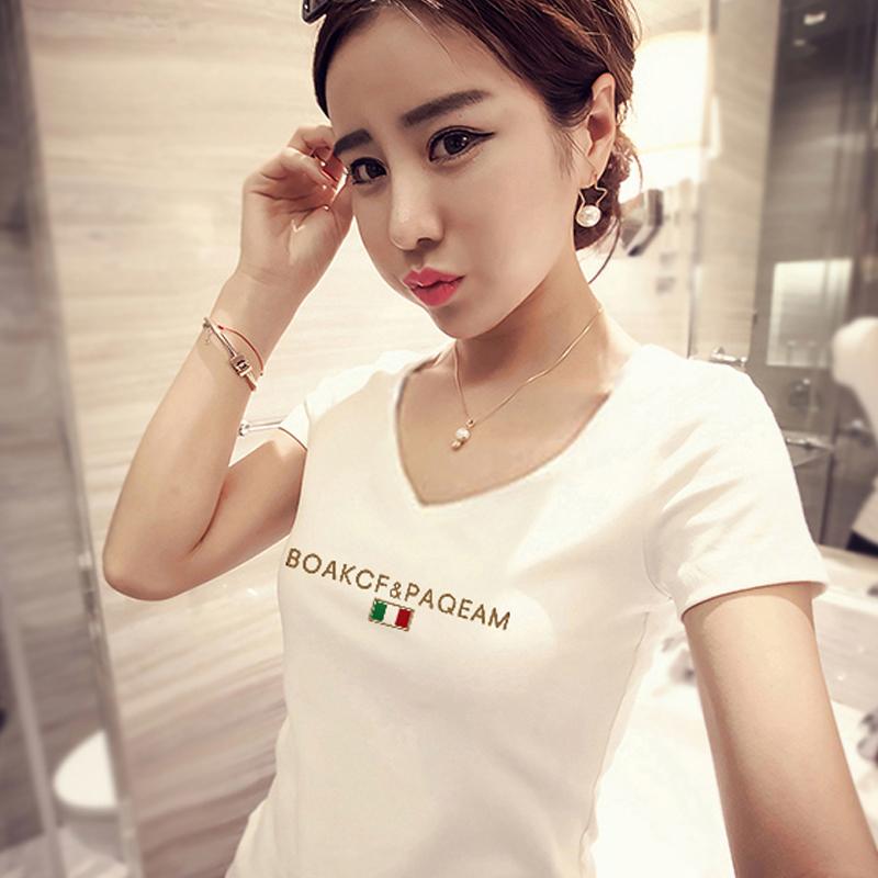 夏韩版百搭大码印花短袖白色打底半袖修身纯棉