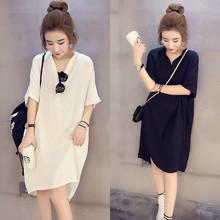 夏装新款韩版衬衫加肥加大码女装胖mm宽松显瘦中长款雪纺连衣裙子