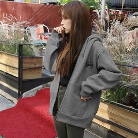 春秋卫衣女开衫学生韩国休闲加绒宽松连帽带帽学院风纯色冬季外套