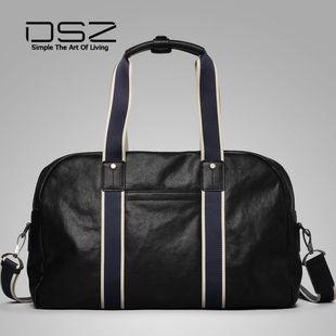 9724新款手提旅行袋2017轻奢正品单肩包青年男包软把真皮撞色DSZ