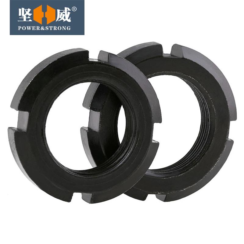 圆螺母 碳钢 国标 GB812 圆螺帽 带槽螺母 锁紧螺母 M10--M60