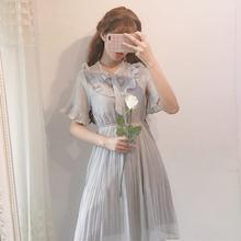 夏装女装韩版小清新少女甜美雪纺花边连衣裙中长款气质高腰仙女裙
