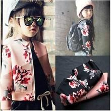 韩国童装2014秋装新款女童时尚碎花夹克衫外套儿童运动休闲开衫