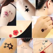 纹身贴纸防水男女持久韩国仿真创意贴纸时尚个性感遮疤锁骨脚刺青