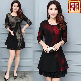 春装新款时尚连衣裙妈妈装30中年35大码40春季妇女装气质长袖裙子