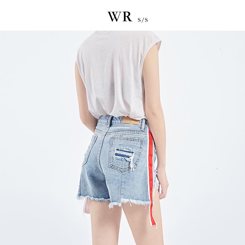 WR2017新款韩版不规则破洞宽松牛仔短裤女夏高腰学生显瘦阔腿热裤