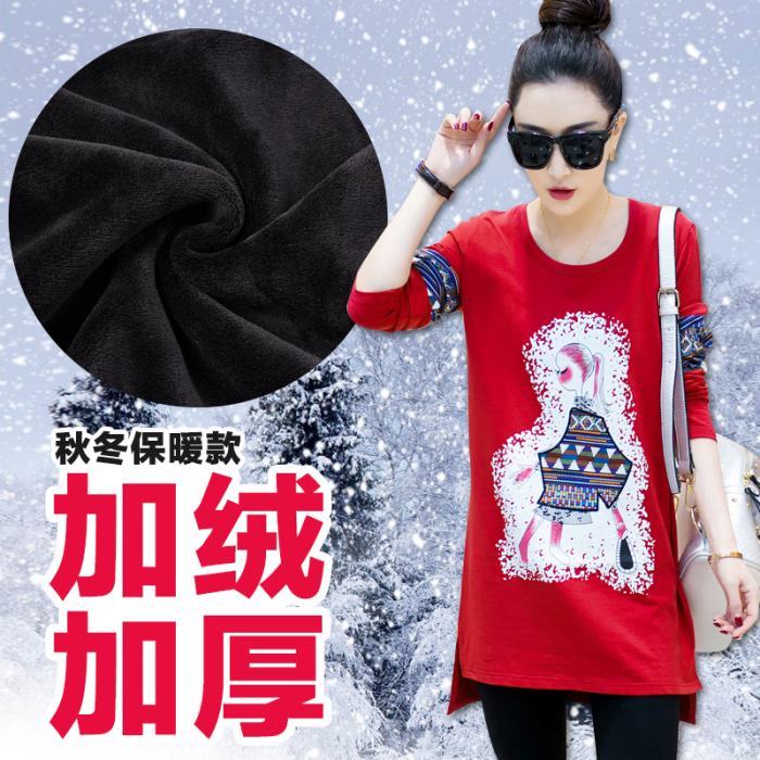2015秋冬新款韩版长袖加绒加厚民族风大码女装打底衫印花T恤女