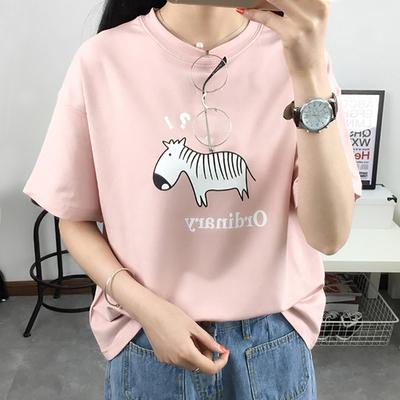 夏装韩版宽松显瘦卡通学生短袖体恤可爱闺蜜姐妹半袖T恤女上衣服
