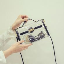 2017早春新款透明包包女韩版果冻包沙滩包水晶斜挎包单肩小包包潮
