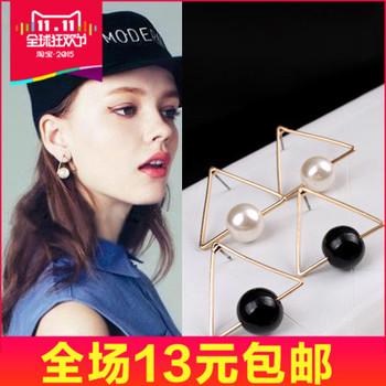 72244 韩国首饰品 帅气摩登三角形耳钉 黑白珍珠耳环 耳饰