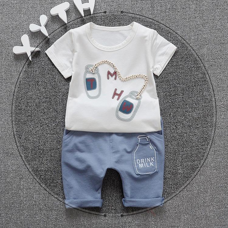 韩版薄款童装衣服夏装短袖婴儿女童运动套装宝宝
