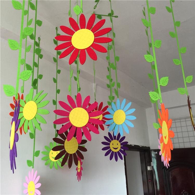 幼儿园环境布置墙面装饰材料批发/无纺布门帘吊饰