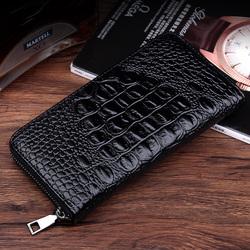 鱷魚紋男士長款拉鏈錢包男式手包商務休閑手拿包青年時尚手機包潮