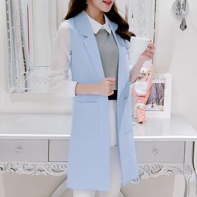 2017春装新款韩版无袖显瘦背心马夹春秋装西装外套中长款马甲女士