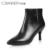 C.BANNER/千百度2016冬新品牛皮雅致细高跟女靴A6521415