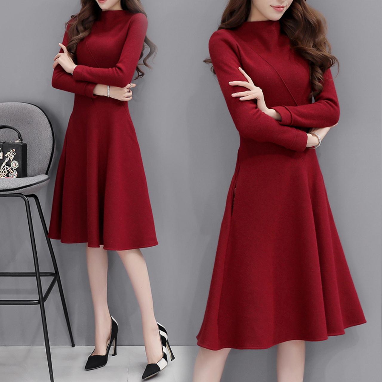 2016新款潮冬季女装韩版修身毛呢连衣裙女中长款气质秋冬打底裙子
