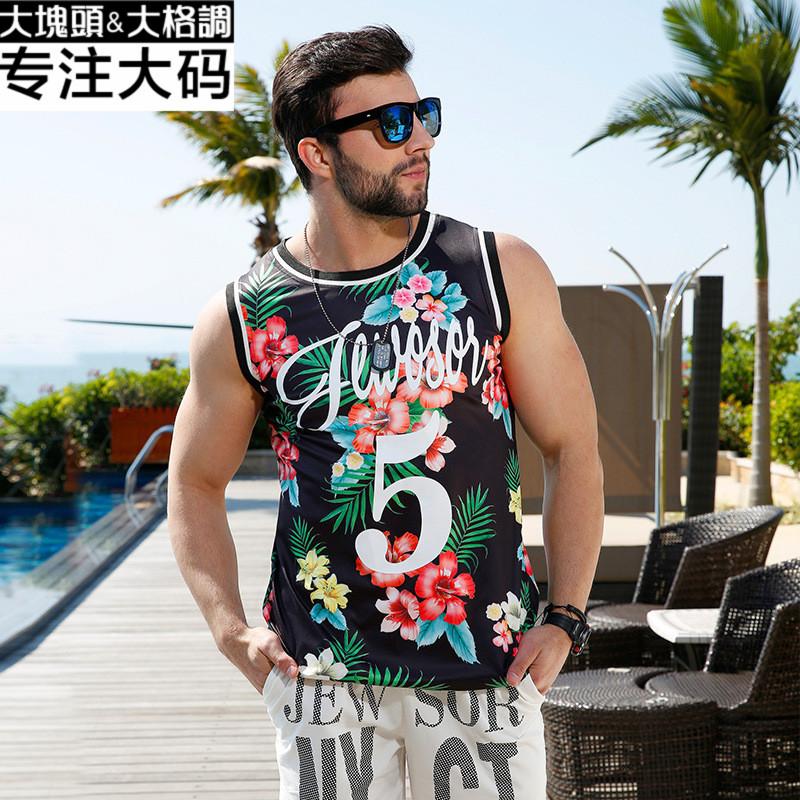 大码男装16夏季宽松舒适背心潮胖子印花马甲加肥加大号无袖T恤衫