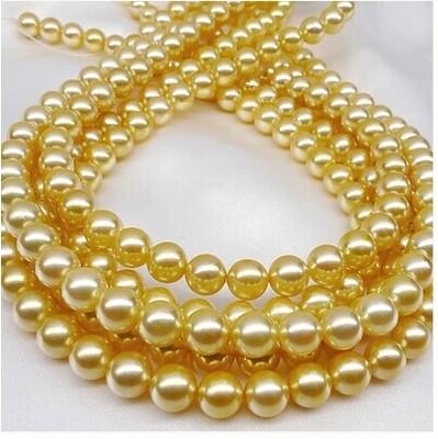 天然海水珍珠项链金珠金色海水珍南洋珠南珠正圆送妈妈包邮