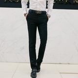 男士西裤修身型青年商务休闲西服裤子职业直筒西装裤黑色夏季薄款