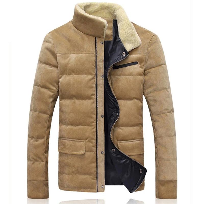轻薄冬装上衣男装修身男士羽绒服短款立领外套品牌