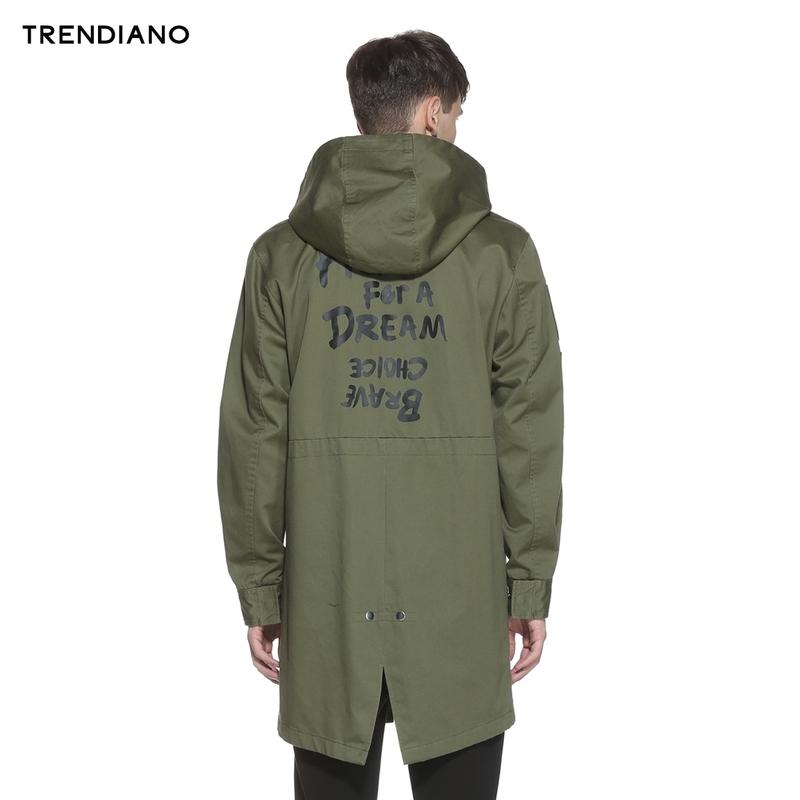 TRENDIANO新2016男装春装潮中长纯棉字母宽松风衣外套3HC1040110
