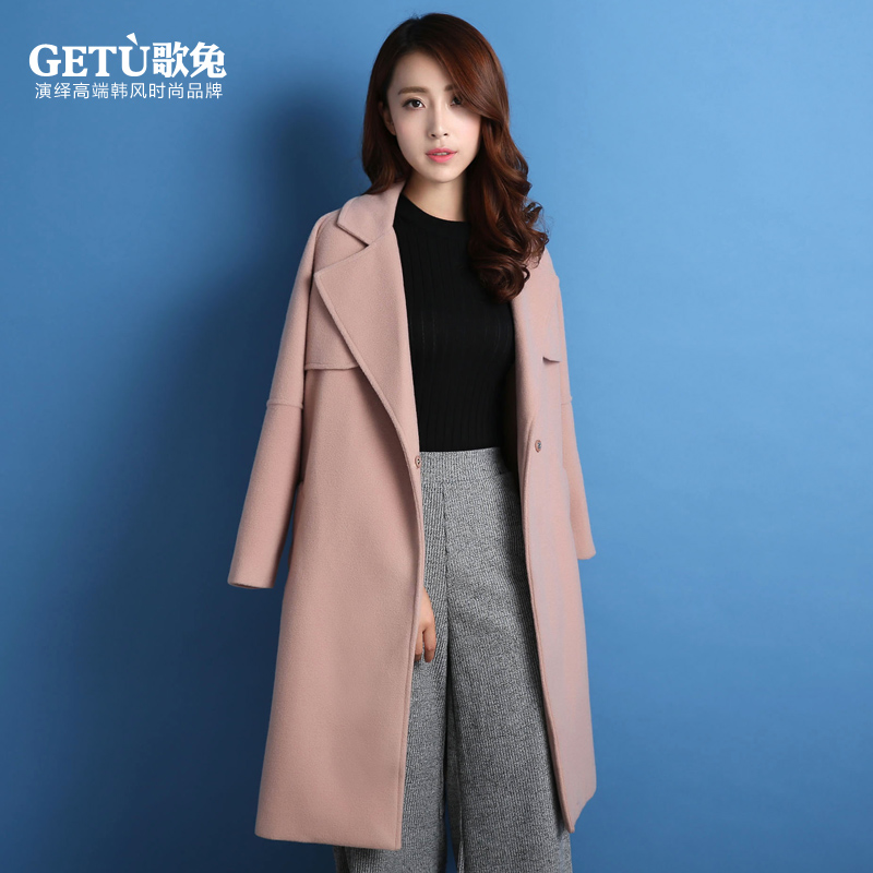 歌兔2015毛呢外套女中长款修身韩版冬装大码女装冬季羊毛呢子大衣