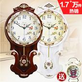 欧式客厅挂钟大号表实木复古静音卧室现代时尚时钟创意简约圆钟表