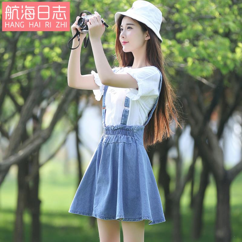 学生短裙高腰连衣裙蓬蓬吊带裙子女装 背带裙夏季牛仔裙