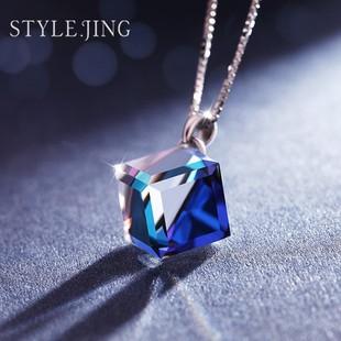 采用施华洛世奇元素水晶项链女 锁骨链简约日韩国学生银饰品吊坠