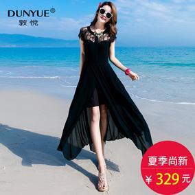 夏季新性感优雅圆领露肩黑色蕾丝开叉大摆不规则雪纺长款连衣裙女