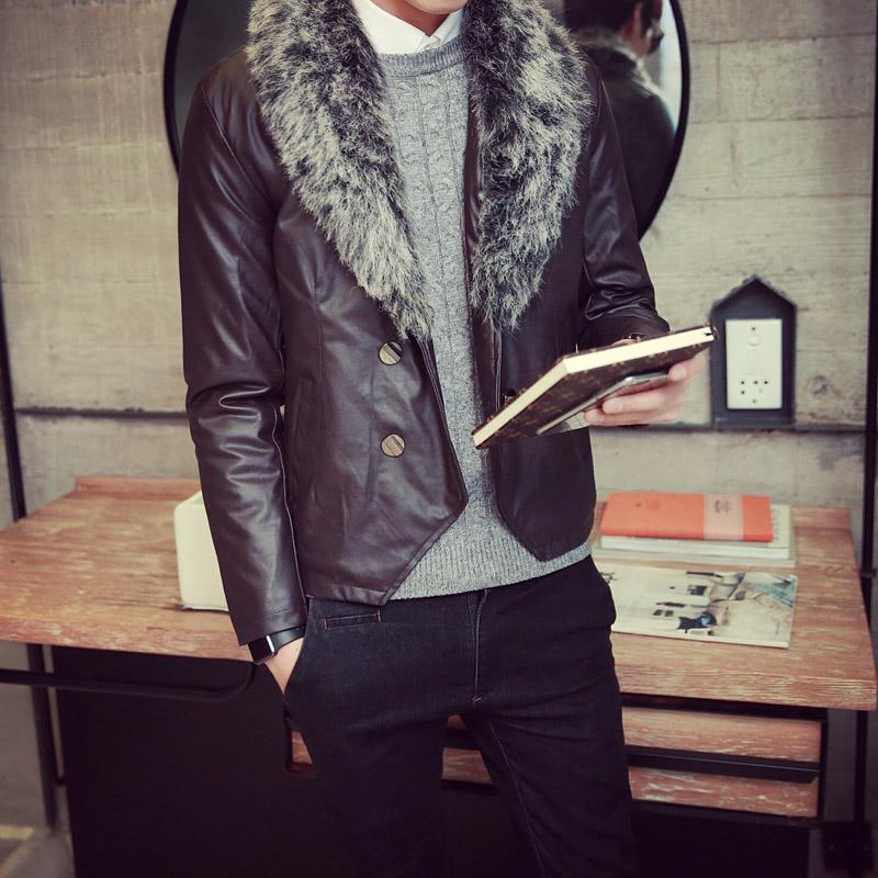 修身型外套青年韩版翻领男装休闲男士常规皮夹克拉链仿皮皮衣皮衣