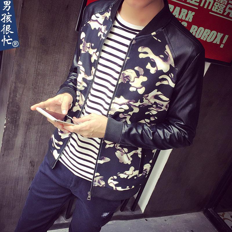 男孩很忙男士皮夹克春装新款日系拼接印花修身潮男装立领夹克外套