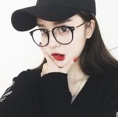 时尚新款文艺复古柳钉女潮近视配镜个性百搭平光韩国圆光学眼镜框