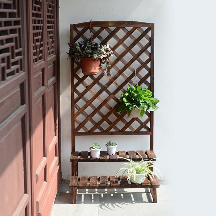 落地式网格绿萝花架实木客厅欧式复古吊兰花盆架子