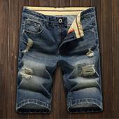 直筒破洞5分裤 中裤 夏天青少年五分裤 男士 修身 牛仔短裤 夏季薄款