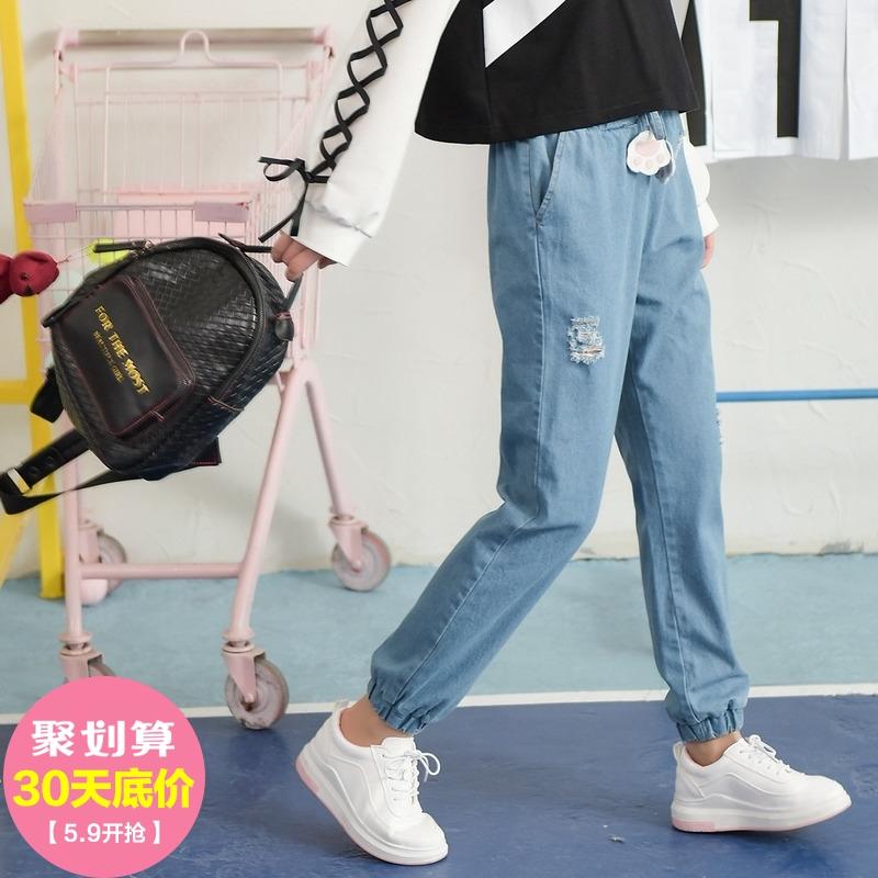 燈籠褲牛仔褲原創設計部落夏季破洞高腰寬松褲子