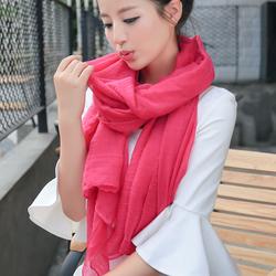 纯色棉麻新款秋冬围巾
