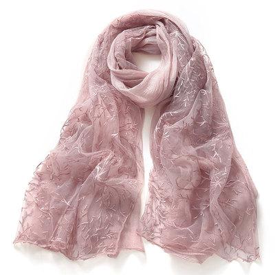 丝巾女春秋季新款围巾女士韩版百搭蕾丝刺绣绣花纯色丝巾披肩两用
