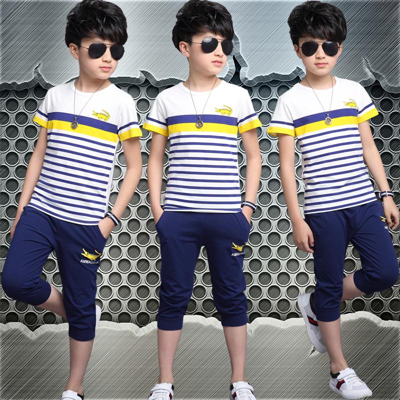 童装两件套中大童运动夏装男童休闲套装夏季条纹短袖儿童