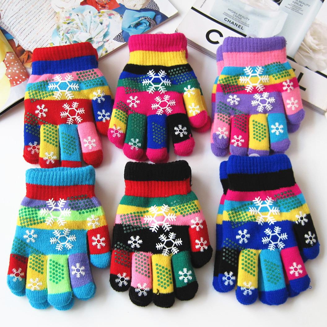 冬季可爱彩色雪花儿童手套冬