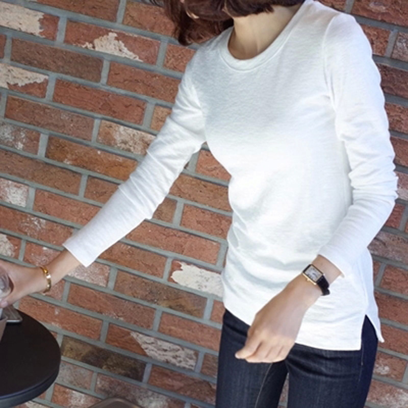 韩版纯色百搭修身白色长袖打底衫女显瘦圆领t恤纯棉加厚上衣秋冬