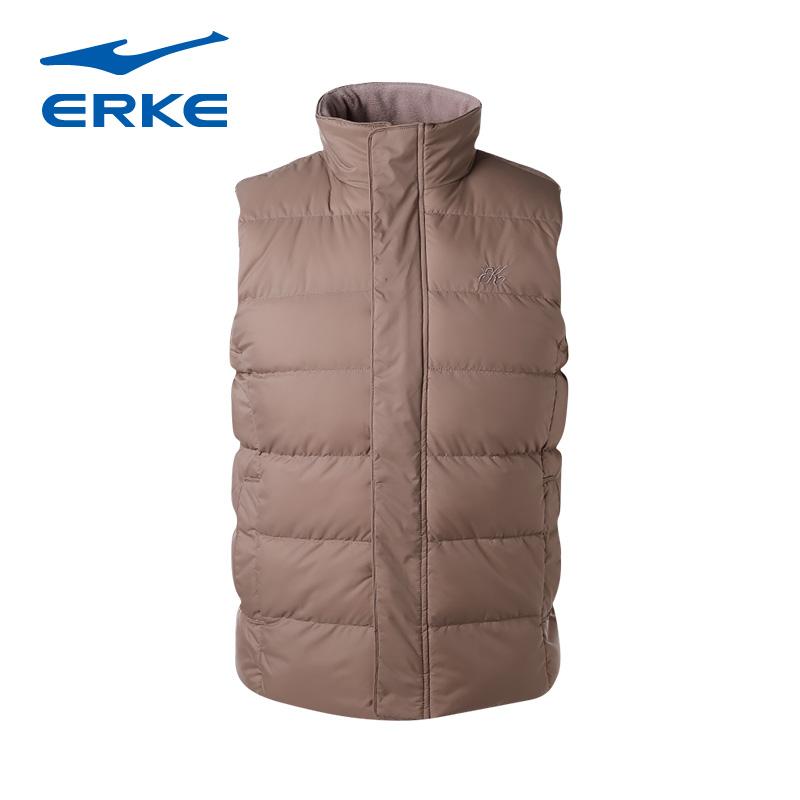 鸿星尔克运动服男立领无袖马甲上衣男士秋冬纯色保暖棉马甲背心